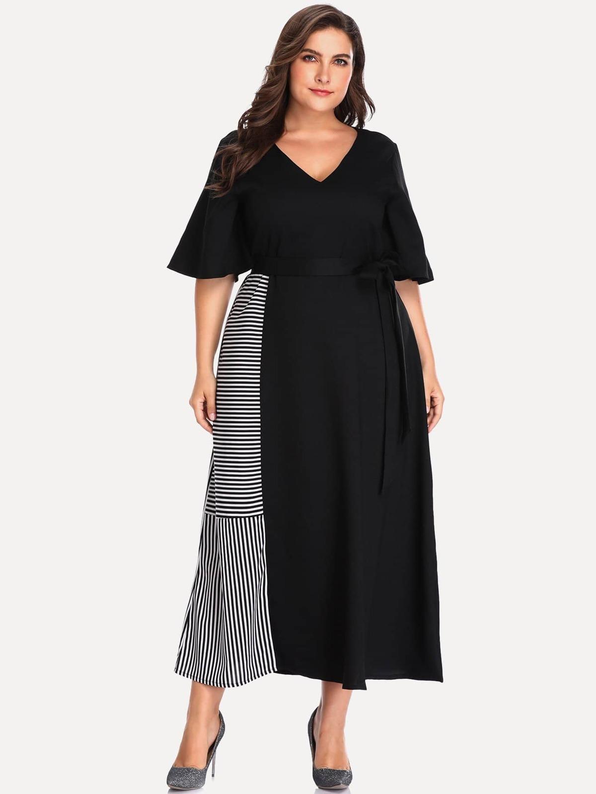 大尺碼 剪裁 縫紉 拼接 條紋 洋裝
