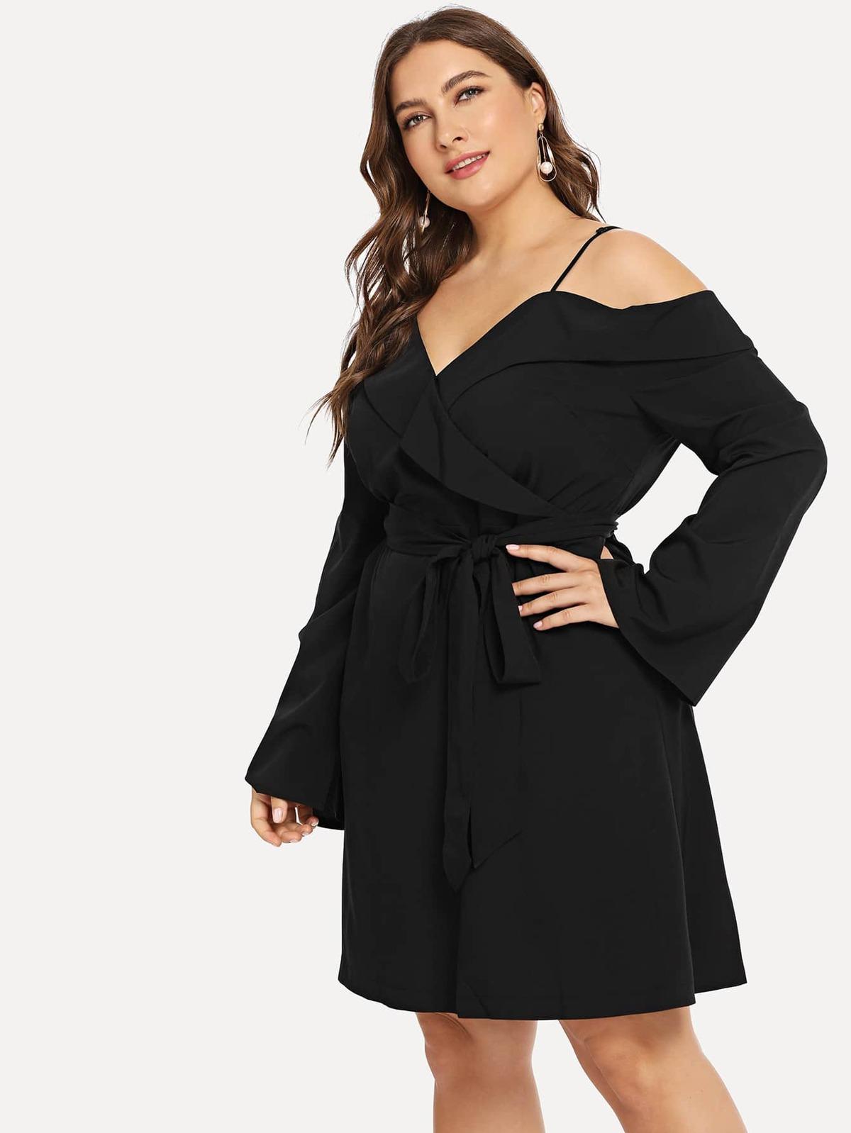 大尺碼 涼爽肩膀 單色 洋裝