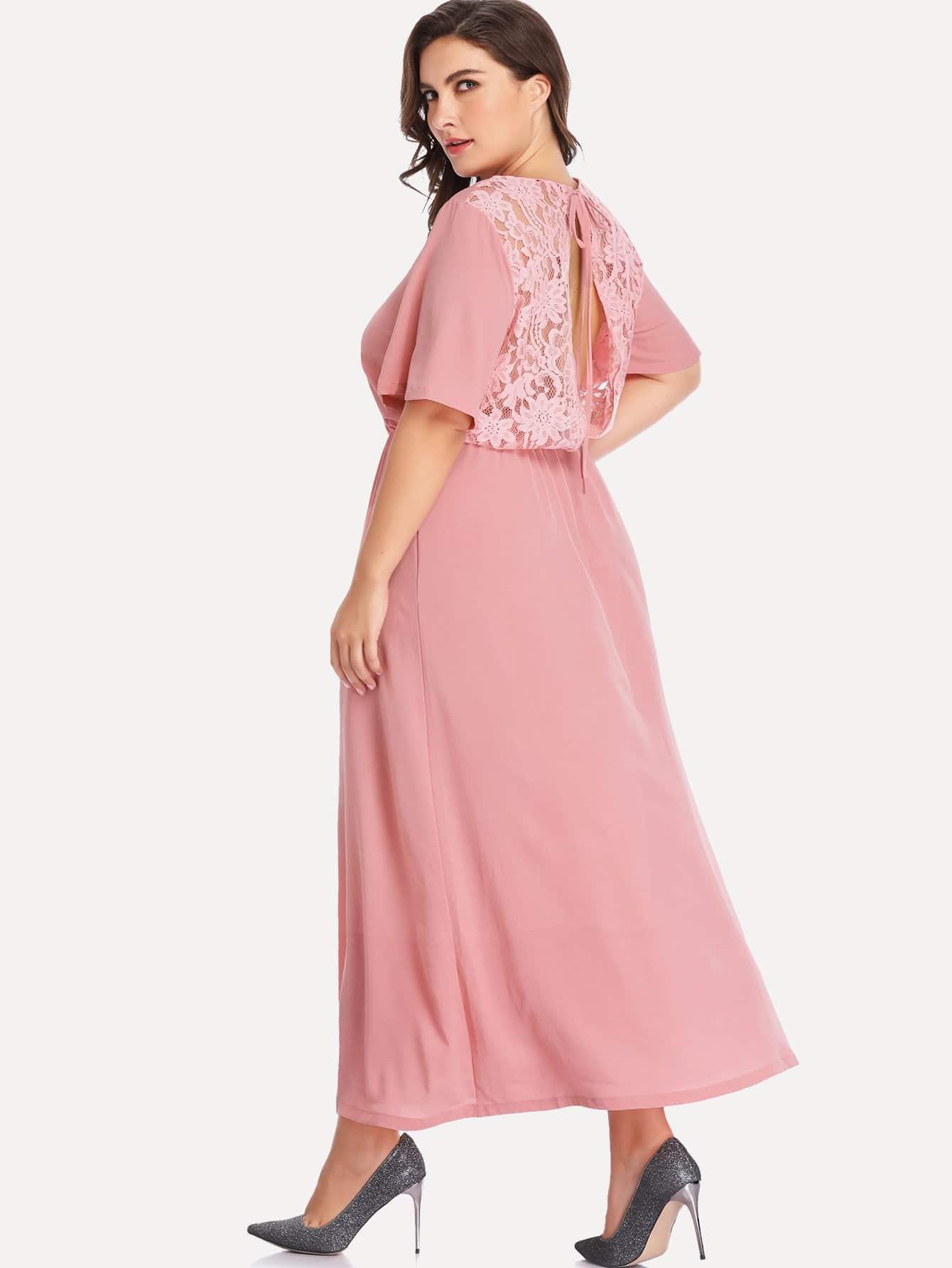 Купить Большое простое платье со симметрическими кружевами, Franziska, SheIn