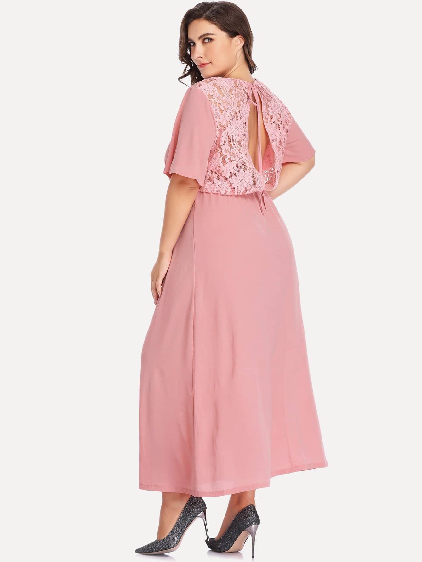 Plus Contrast Lace Solid Dress