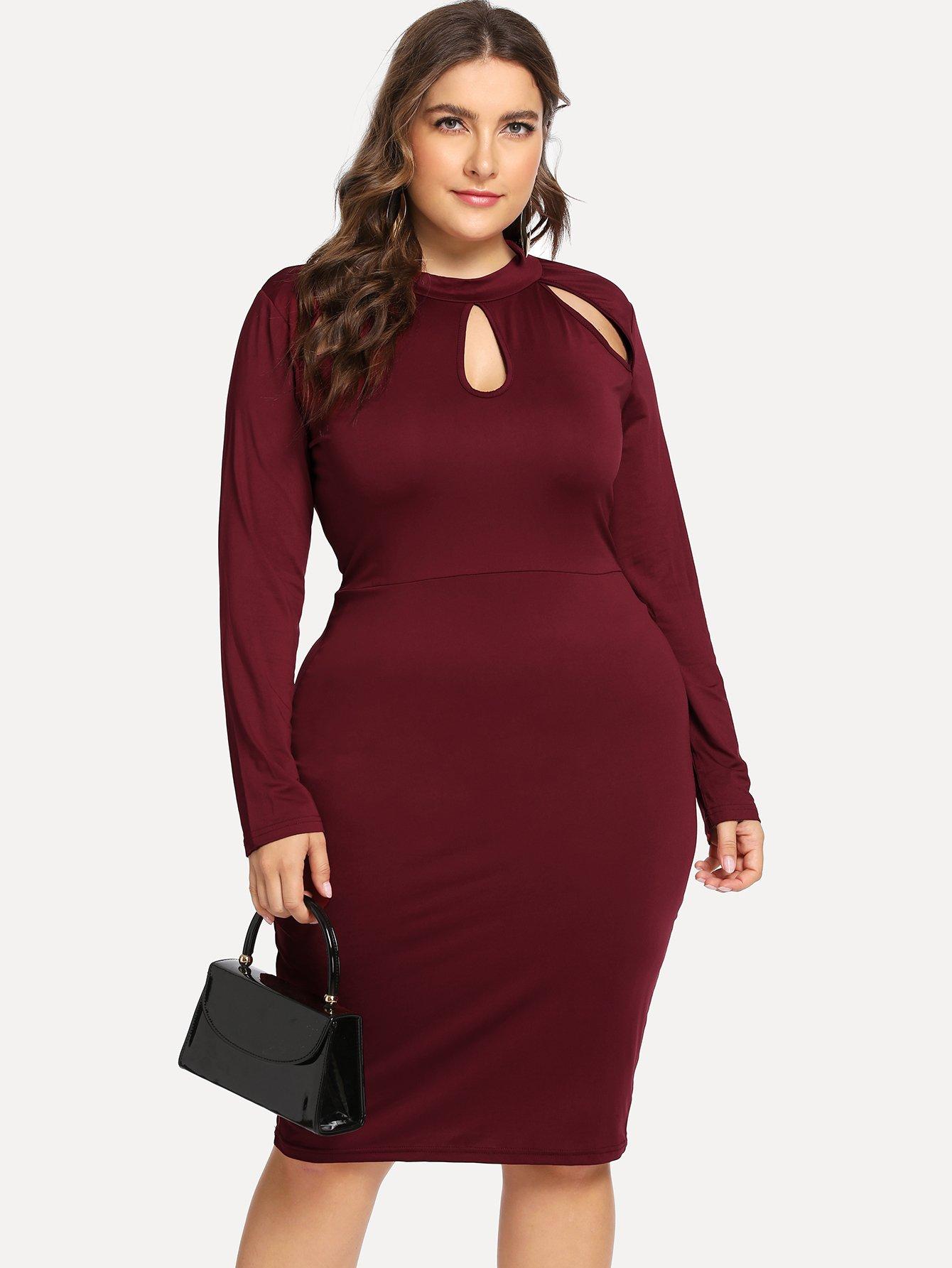 Купить Большое простое платье с замочной скважиной, Franziska, SheIn