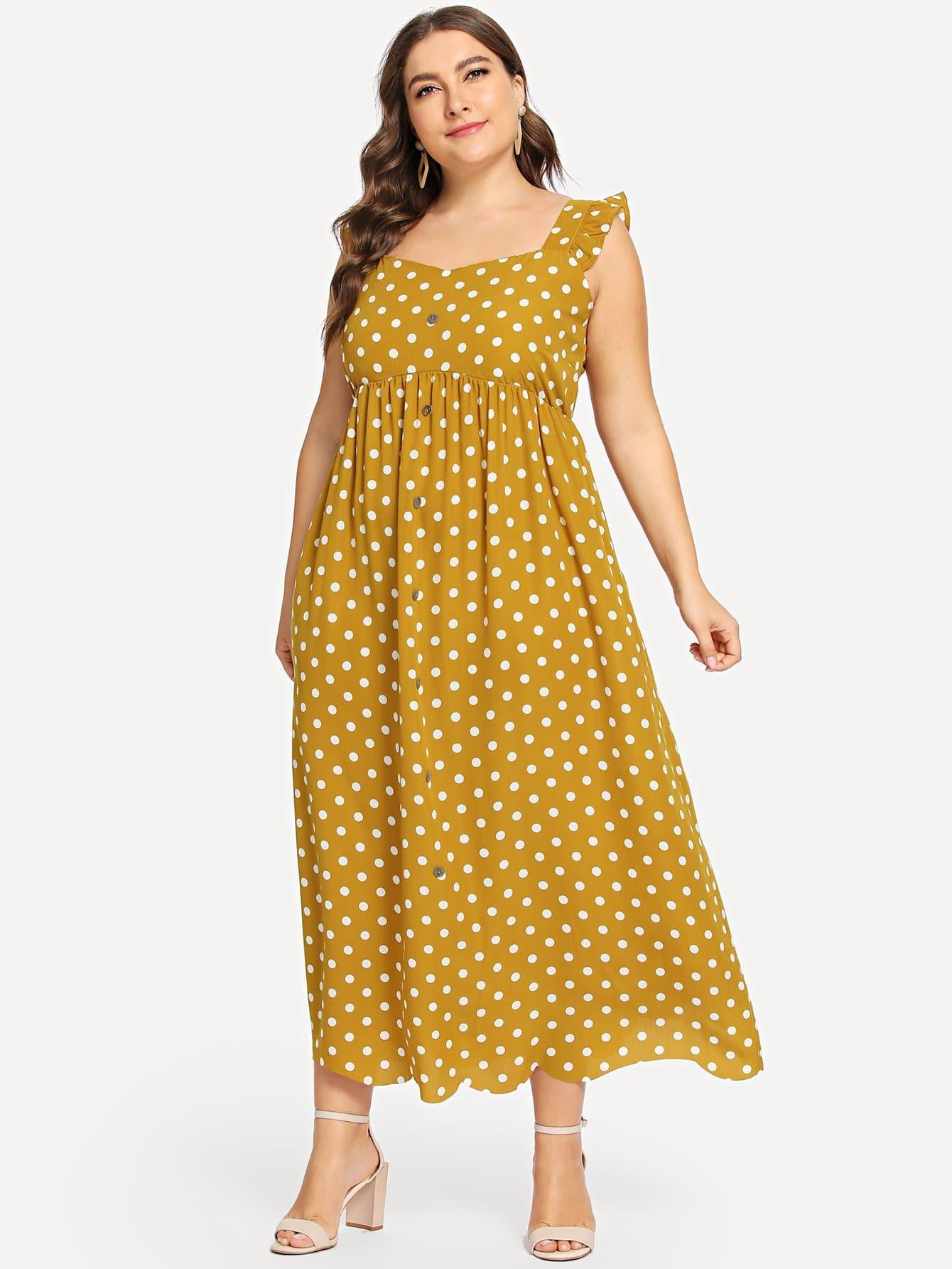 Plus Polka Dot Print Dress