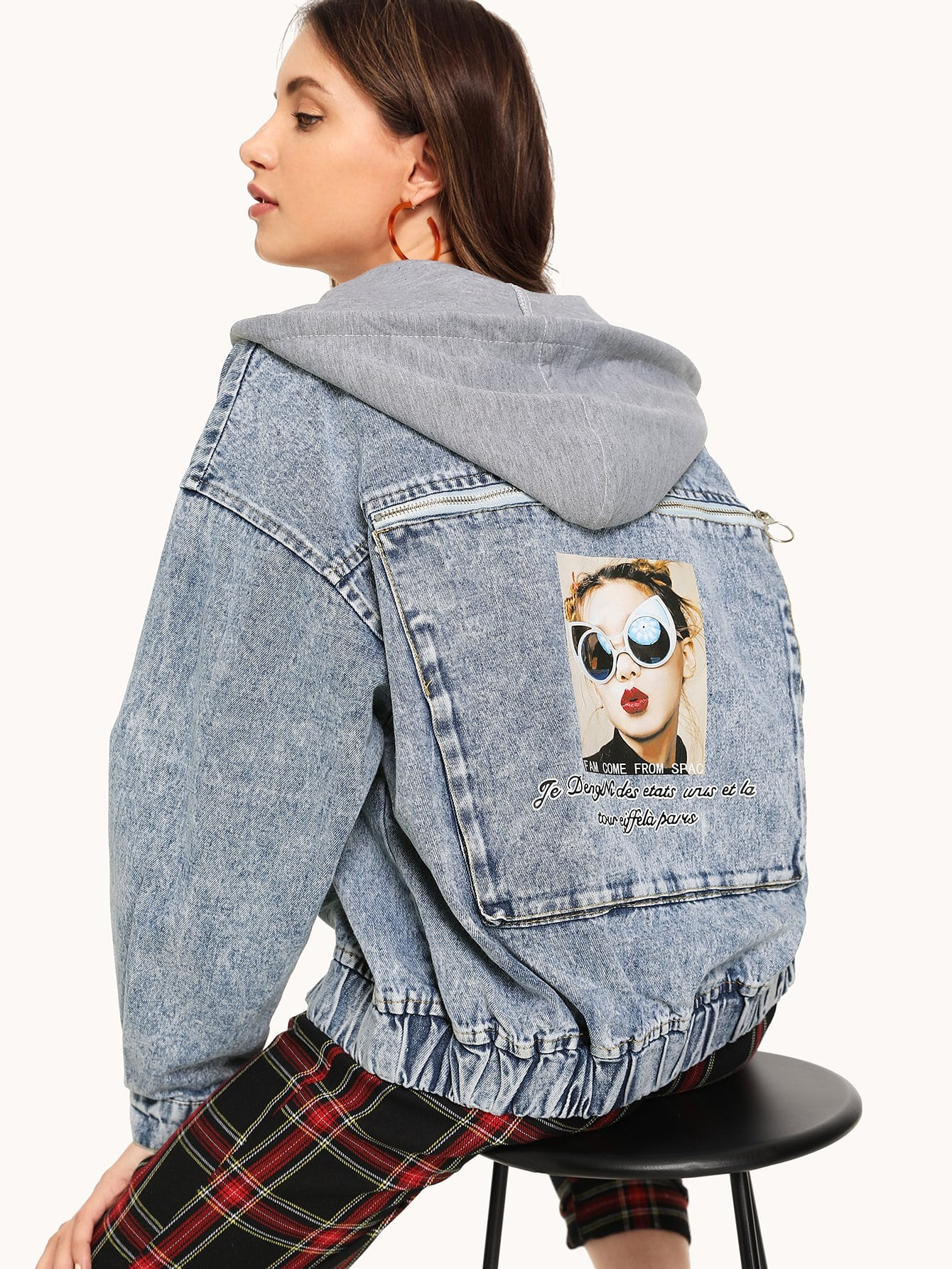 Denim Figure Print Zipper Detail Jacket