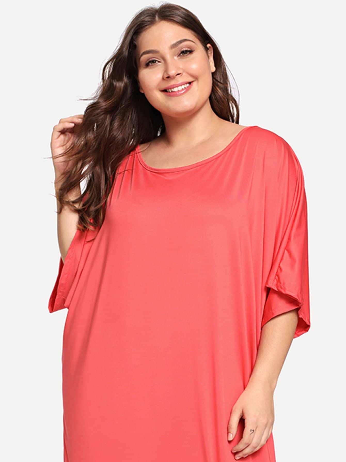 Купить Большая простая длинная ночная сорочка, Carol, SheIn