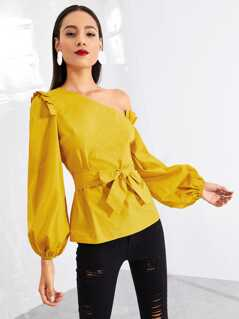 Asymmetric Shoulder Bishop Sleeve Top
