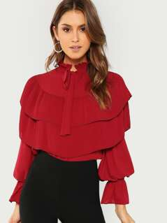 Tie Neck Layered Ruffle Bell Sleeve Top