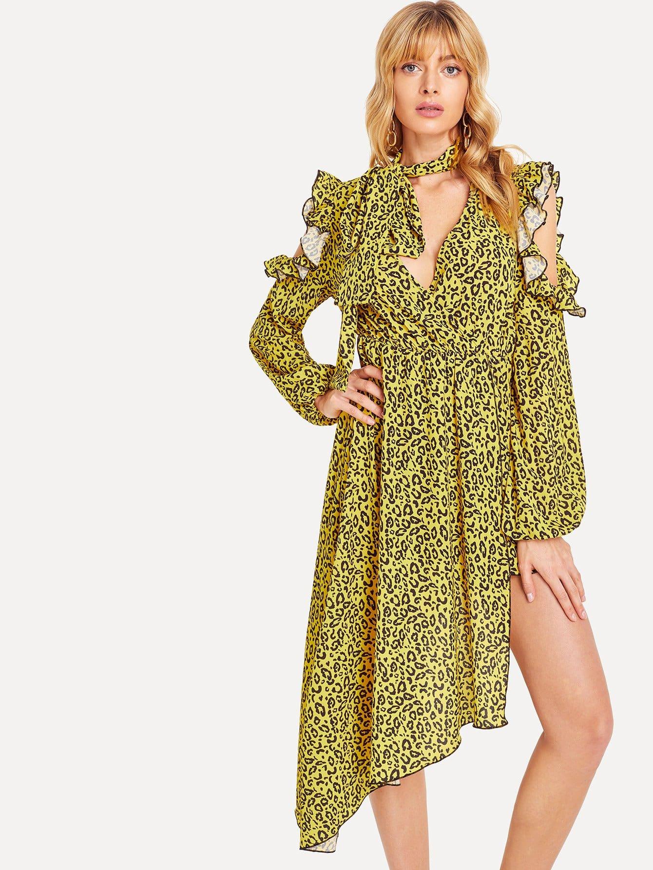 Купить Платье леопарда с холодным плечом, Masha, SheIn