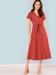 Roll Up Sleeve Button Up Belted Dress