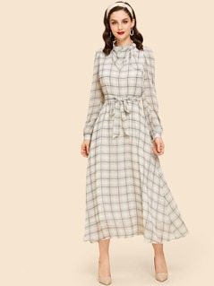 Zip Back Belted Plaid Print Dress