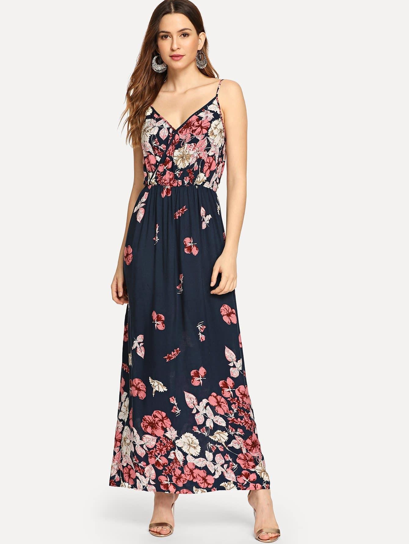 Купить С цветочным принтом Cami платье, Jana, SheIn