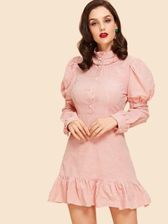 Frilled Ruffle Hem Leg-of-mutton Sleeve Dress