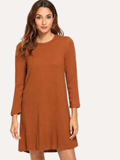 Solid Rib-knit Dress