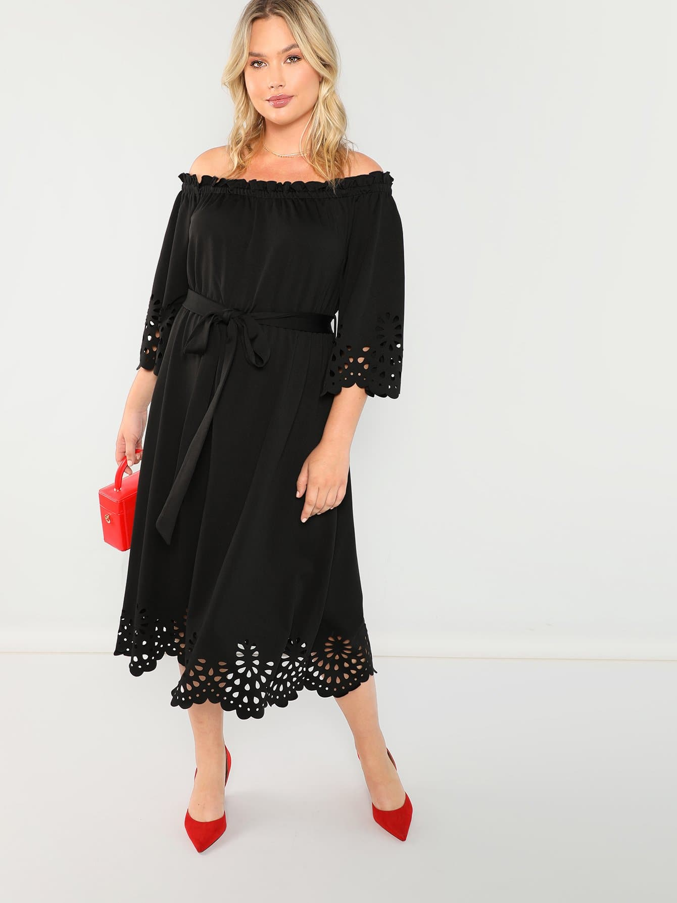 Купить Плюс размеры веерообразной отделкой платье, Sydney Ness, SheIn