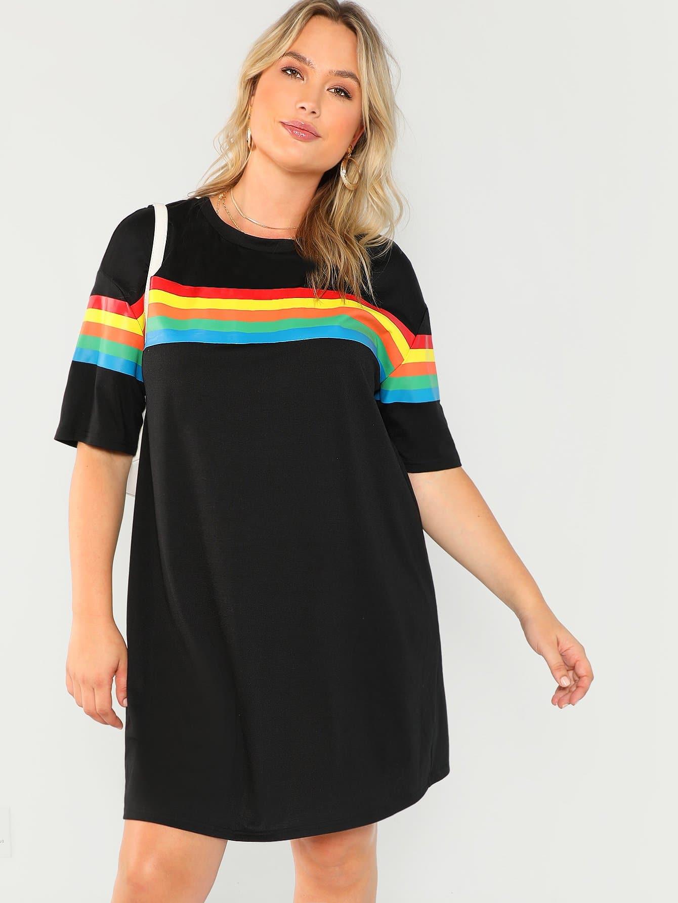 Купить Плюс размеры радужное полосатое платье, Sydney Ness, SheIn