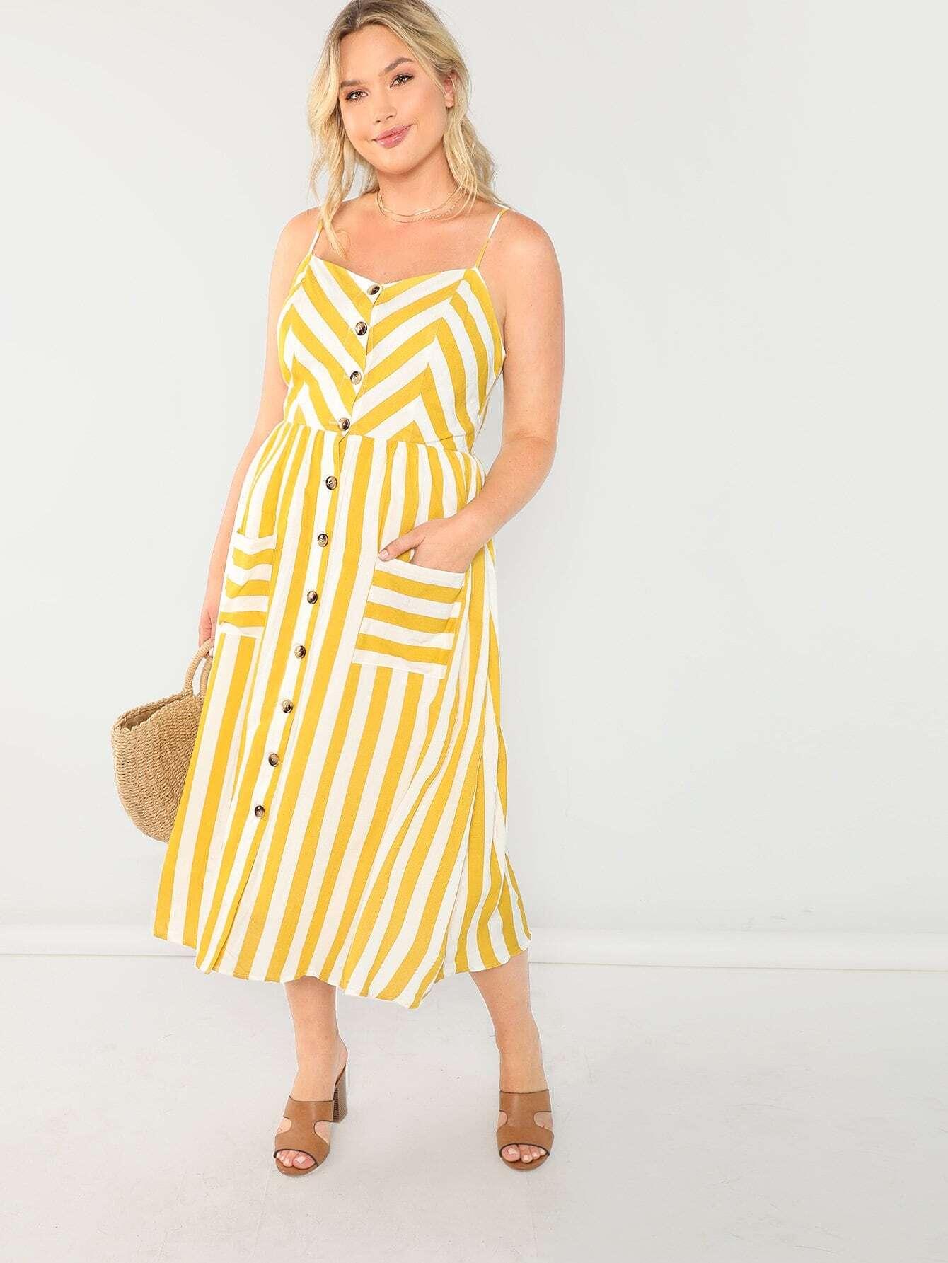 Купить Плюс размеры полосатое Cami платье с карманами на пуговицах, Sydney Ness, SheIn