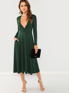 Surplice Plunge Neck Flare Dress
