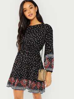 Paisley Print Blouson Sleeve Ruffle Hem Dress