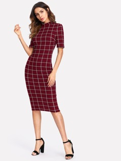 Mock Neck Grid Fitted Dress