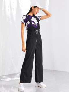 Zip Front Pinafore Jumpsuit with Belt