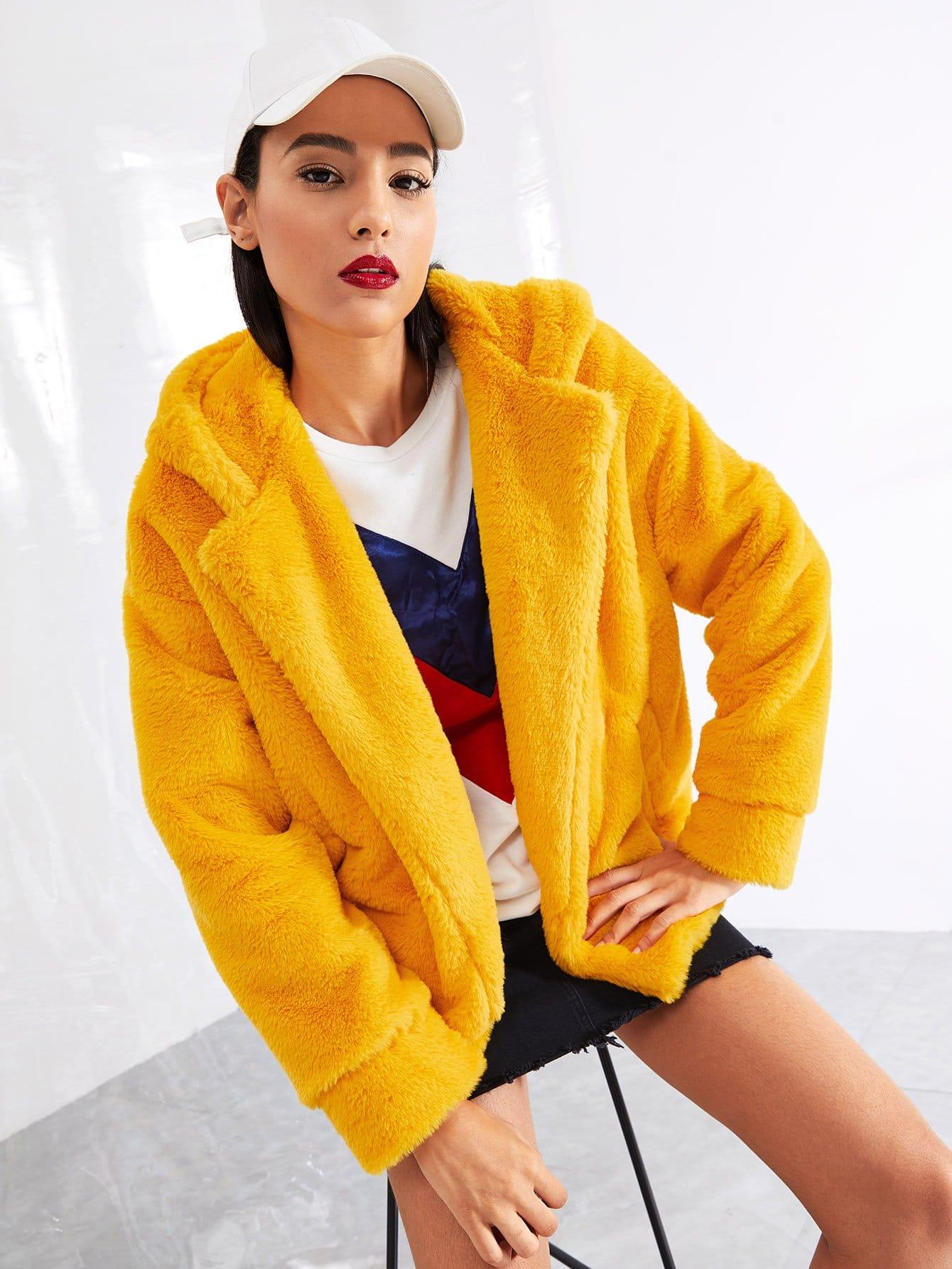 Купить Тедди пальто с капюшоном из искусственных кож, Kary, SheIn