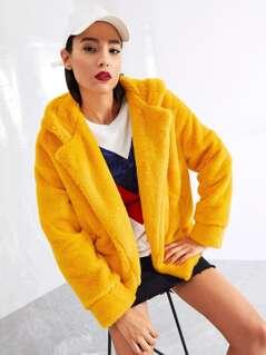 Pocket Side Faux Fur Hooded Teddy Coat