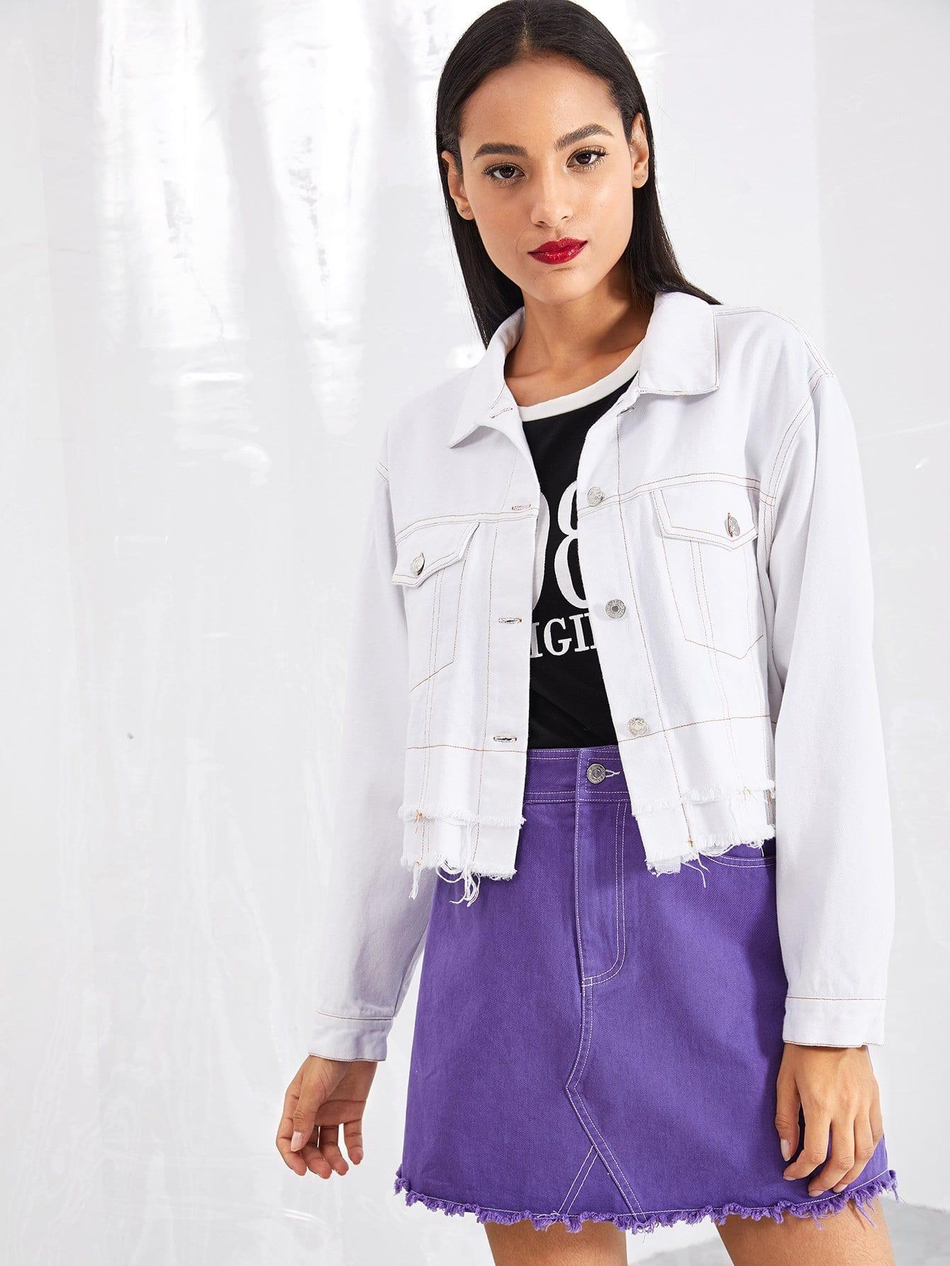 Купить Контрастное пальто с необработанным низом, Kary, SheIn