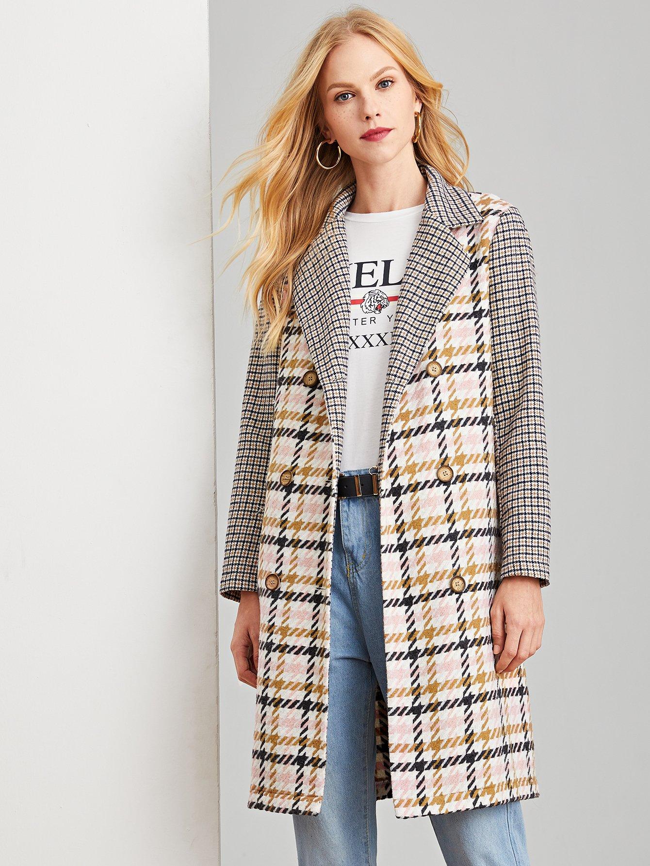 Купить Двубортное пальто в клетку с зубчатым воротником, Denisa, SheIn