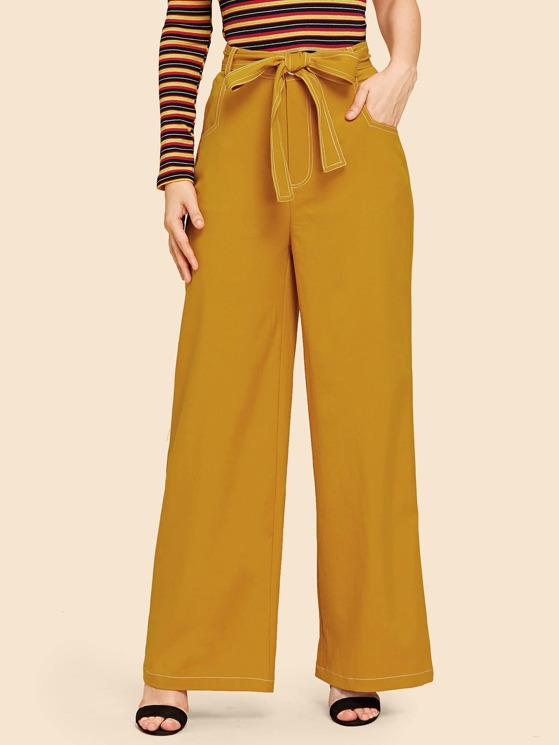 6bdf264754 Tie Waist Slant Pocket Wide Leg Pants | MakeMeChic.COM