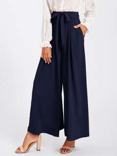 Self Belted Skirt Palazzo Pants