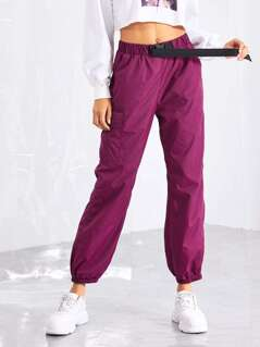 Pocket Side Drawstring Waist Pants