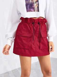 Ruffle Drawstring Waist Pocket Detail Utility Skirt