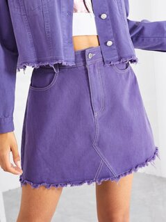 Raw Hem Solid Skirt