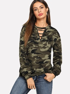 V-Cut Camo Print Sweatshirt