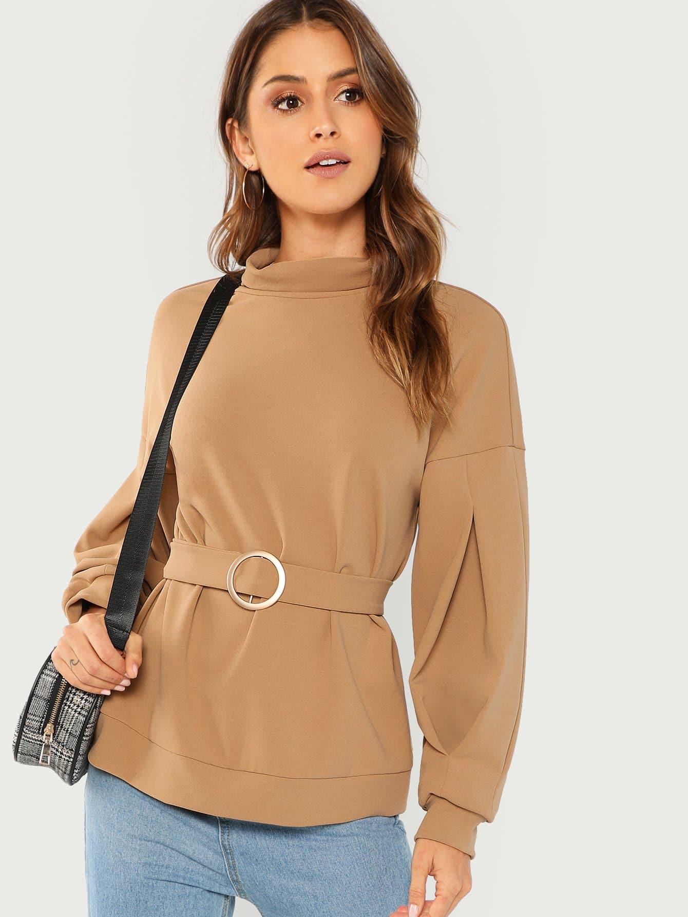 Купить Твердый пуловер с ложным воротником и с поясом, Gigi Paris, SheIn