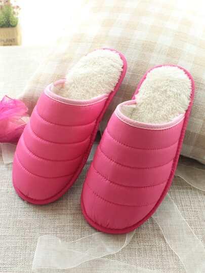 Romwe / Stitch Detail Round Toe Slippers