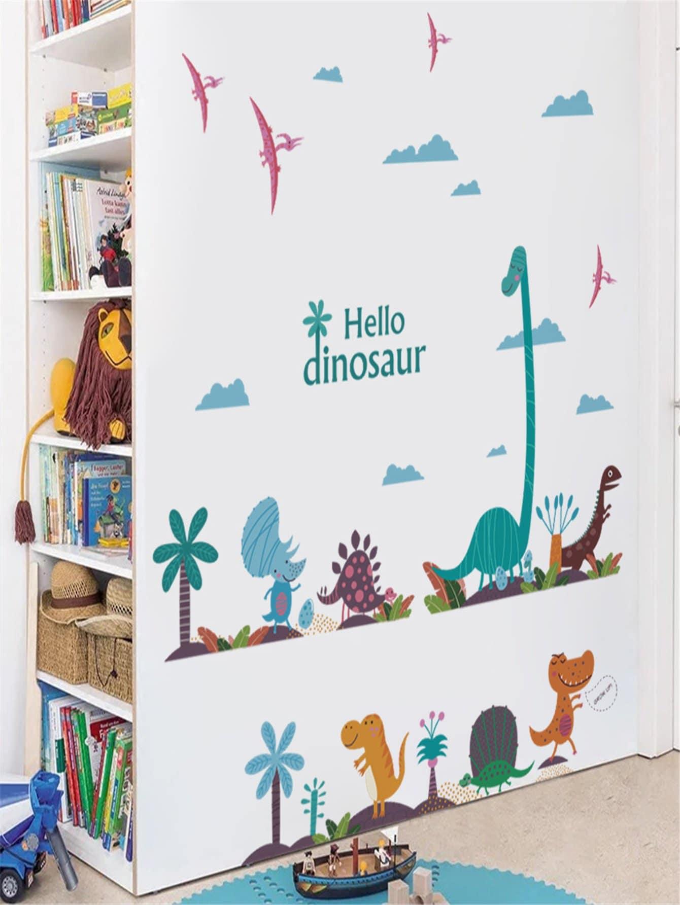 Adesivo da parete con stampa di dinosauri e lettere