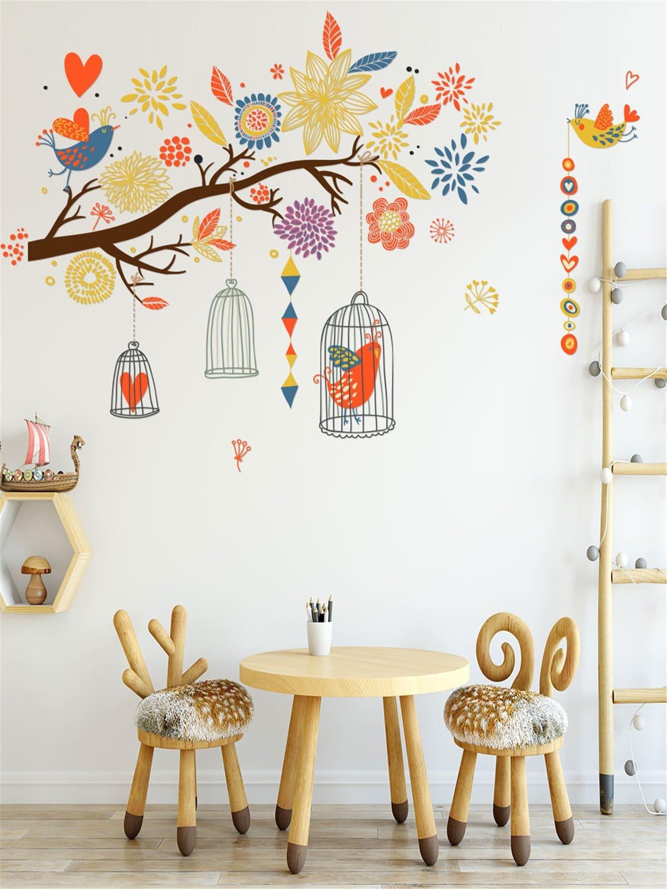 Adesivo da parete con stampa floreale e uccelli