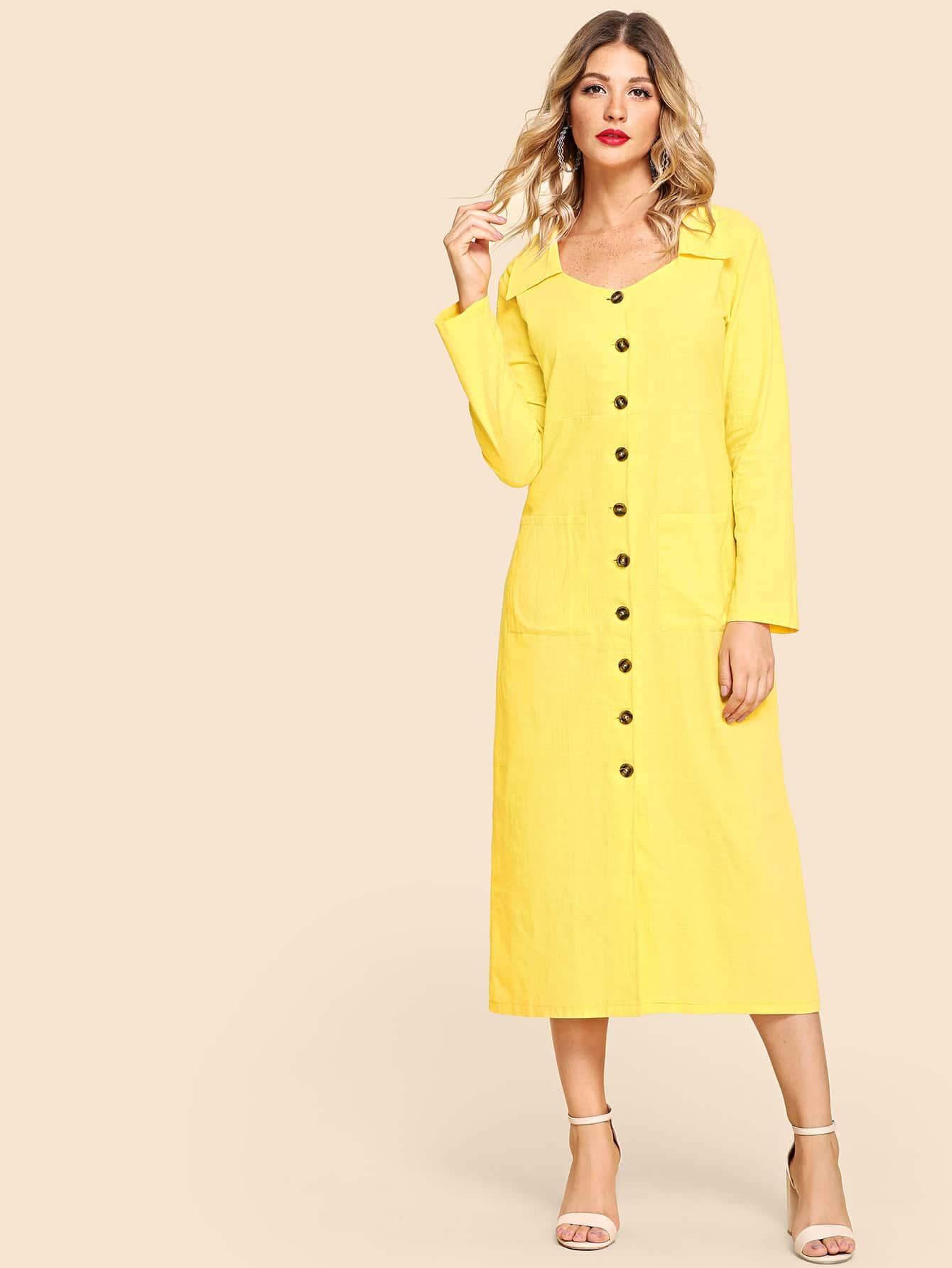 Купить Длинное платье с украшением пуговицы и двух кармана, Nathane, SheIn
