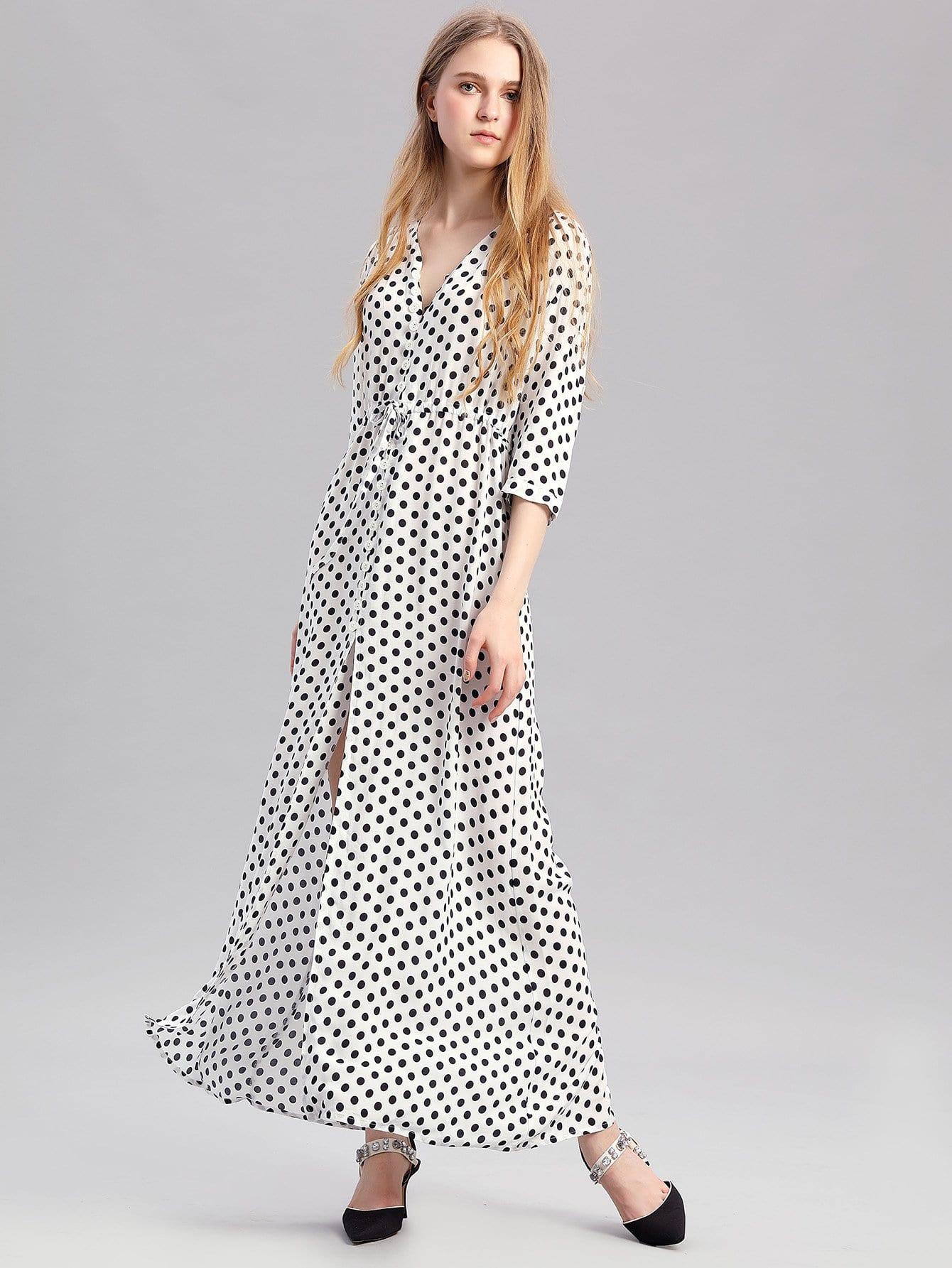 Купить Платье с рисунками точки и с вырезом и кулиской, null, SheIn
