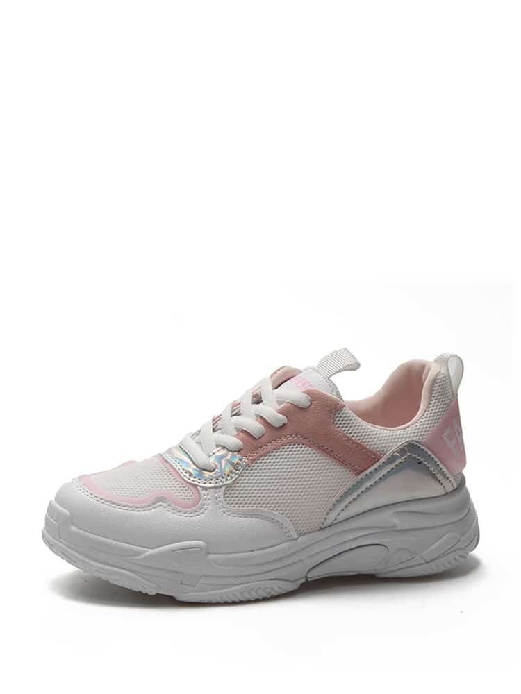 Lace Up PU Panel Sneakers