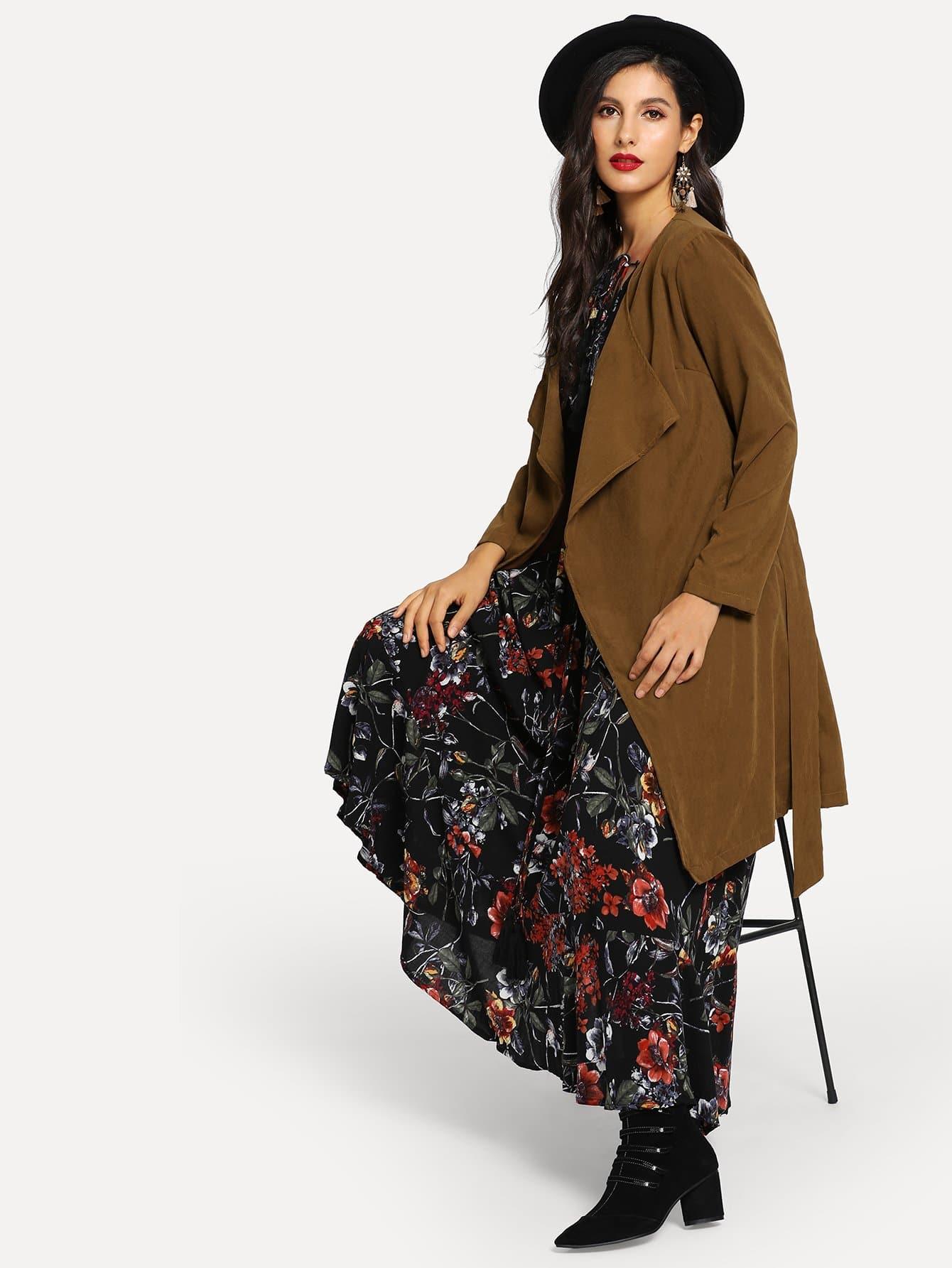 Купить Длинное пальто с поясом, Jeane, SheIn