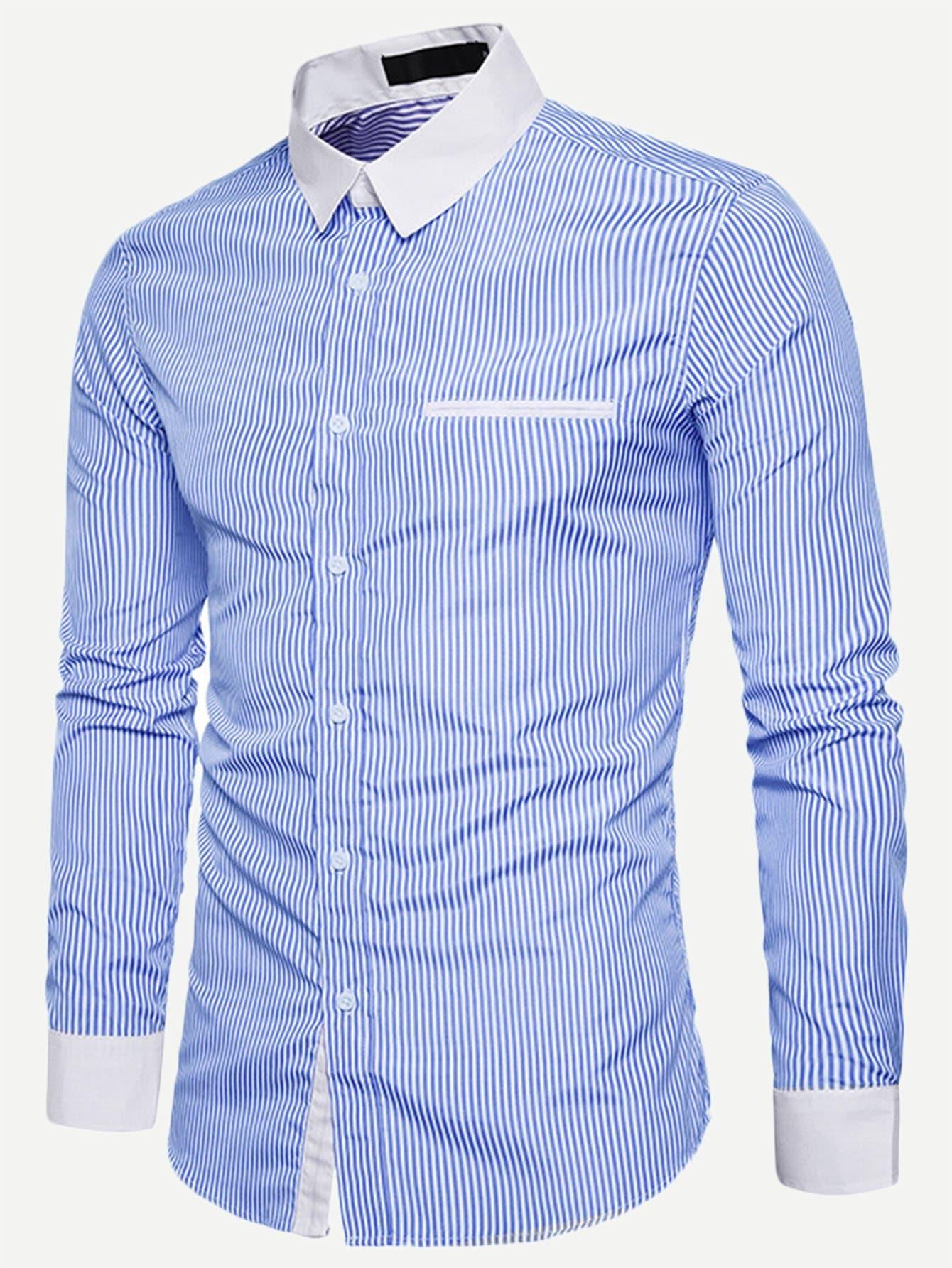 Купить Мужская полосатая футболка и кривой подол, null, SheIn