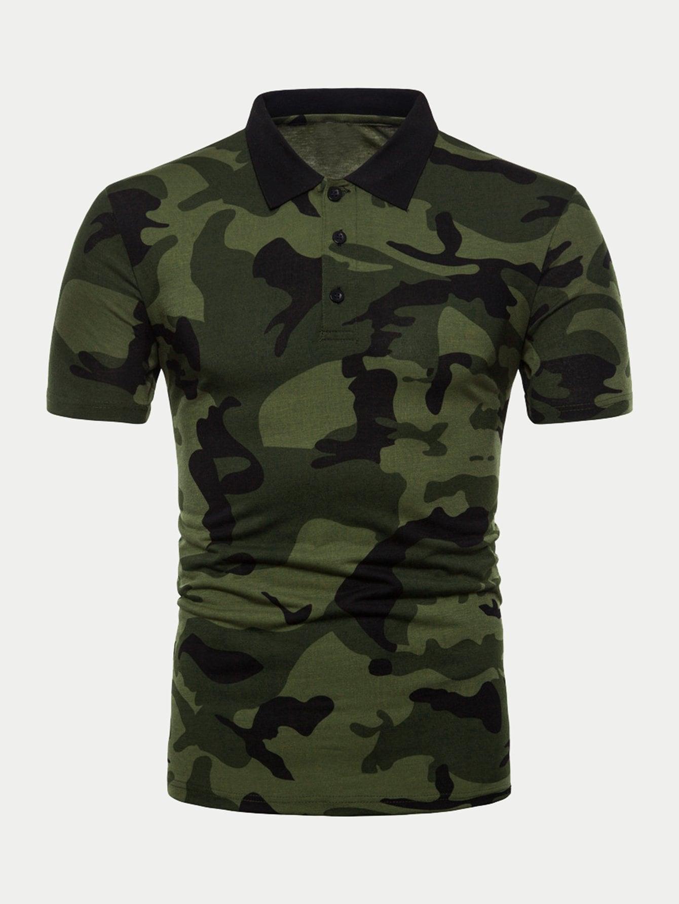Men Camo Print Polo Shirt