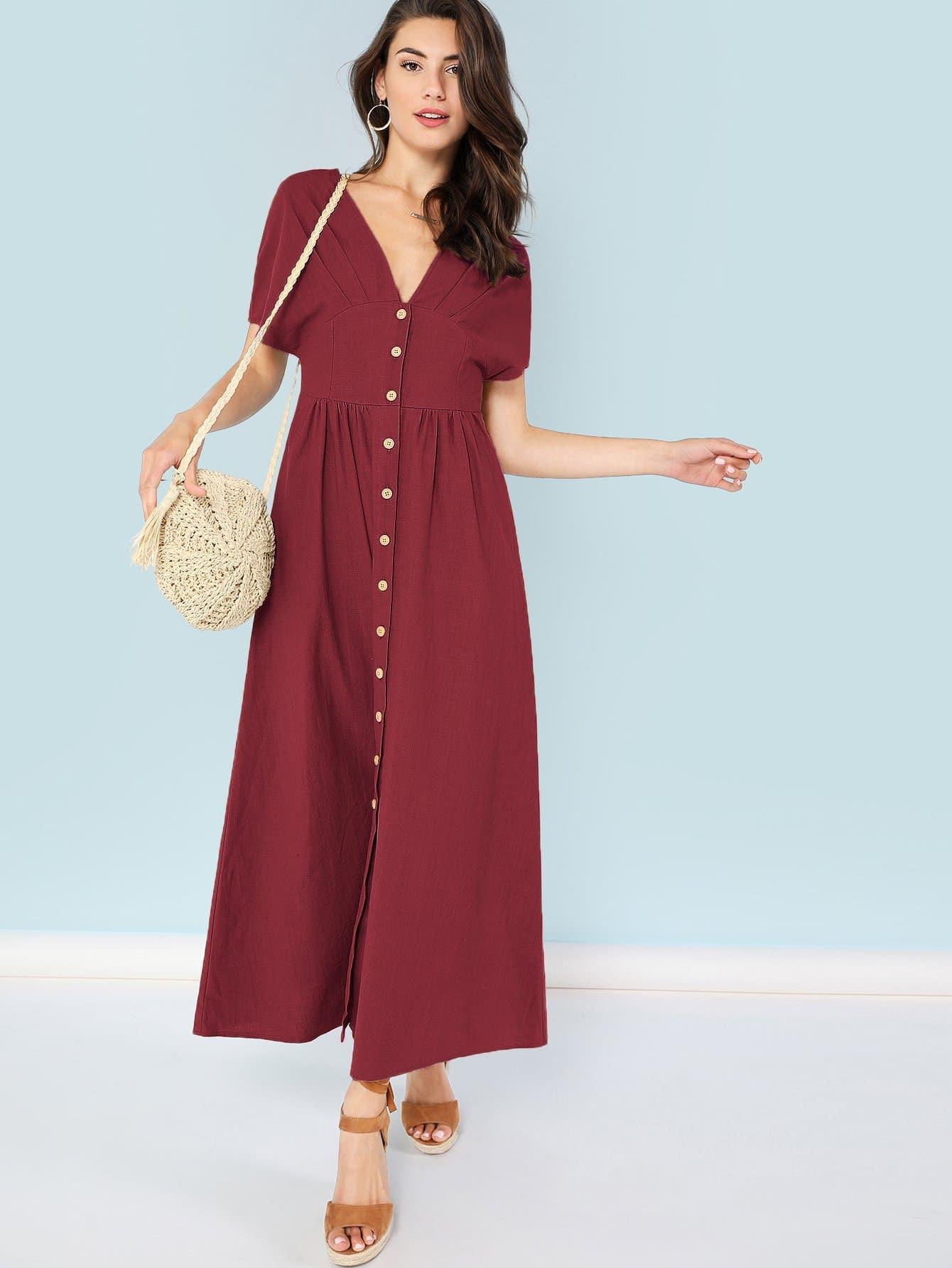 Купить Платье на пуговицах с v-образным вырезом, Zandria Theis, SheIn