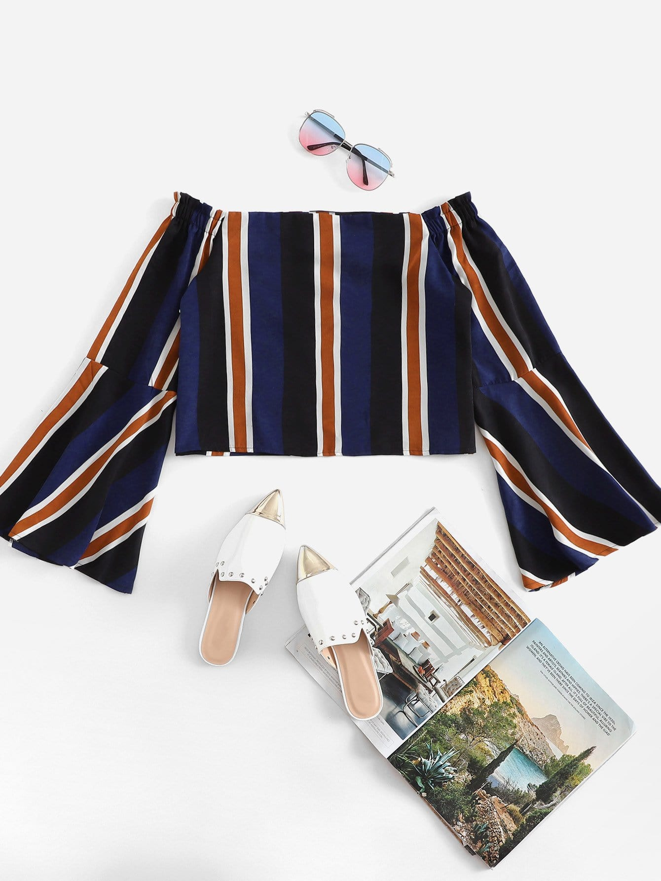 Off Shoulder Flounce Sleeve Striped Blouse