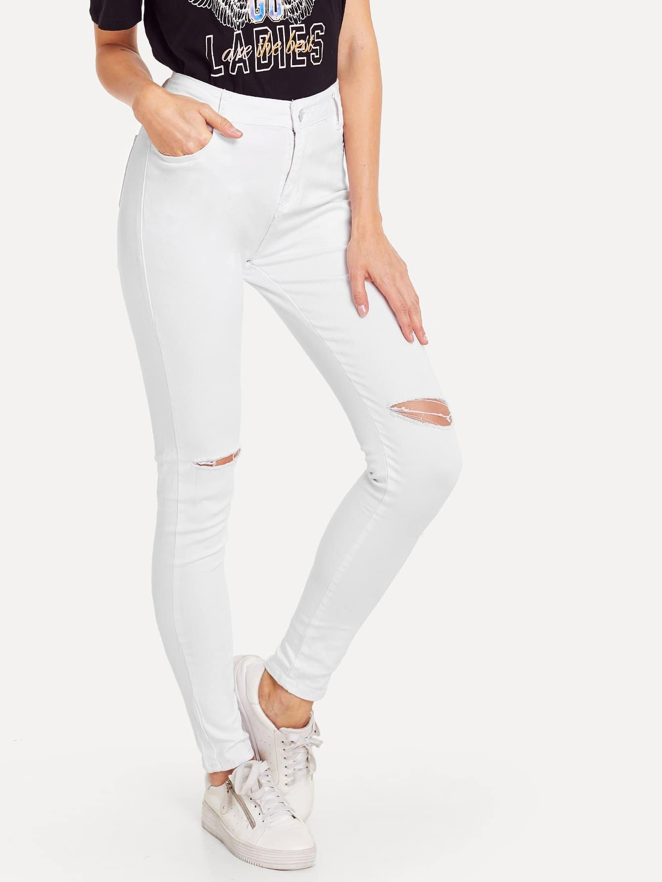 Ripped Knee Solid Jeans