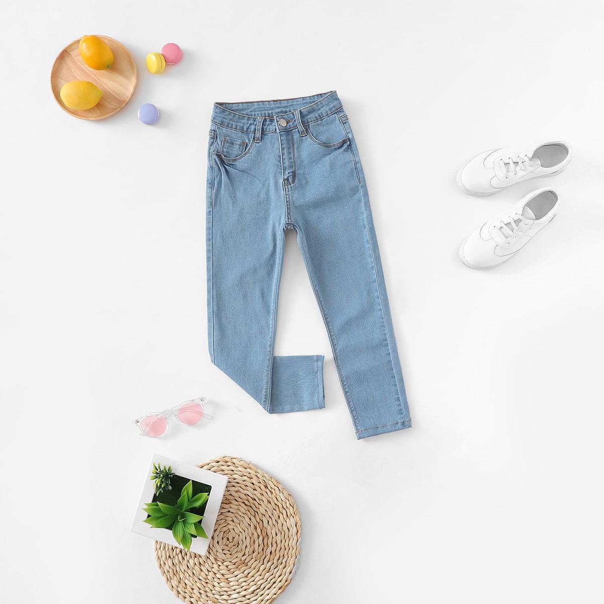 Облегающие джинсы с украшением пуговицы и кармана для девочки
