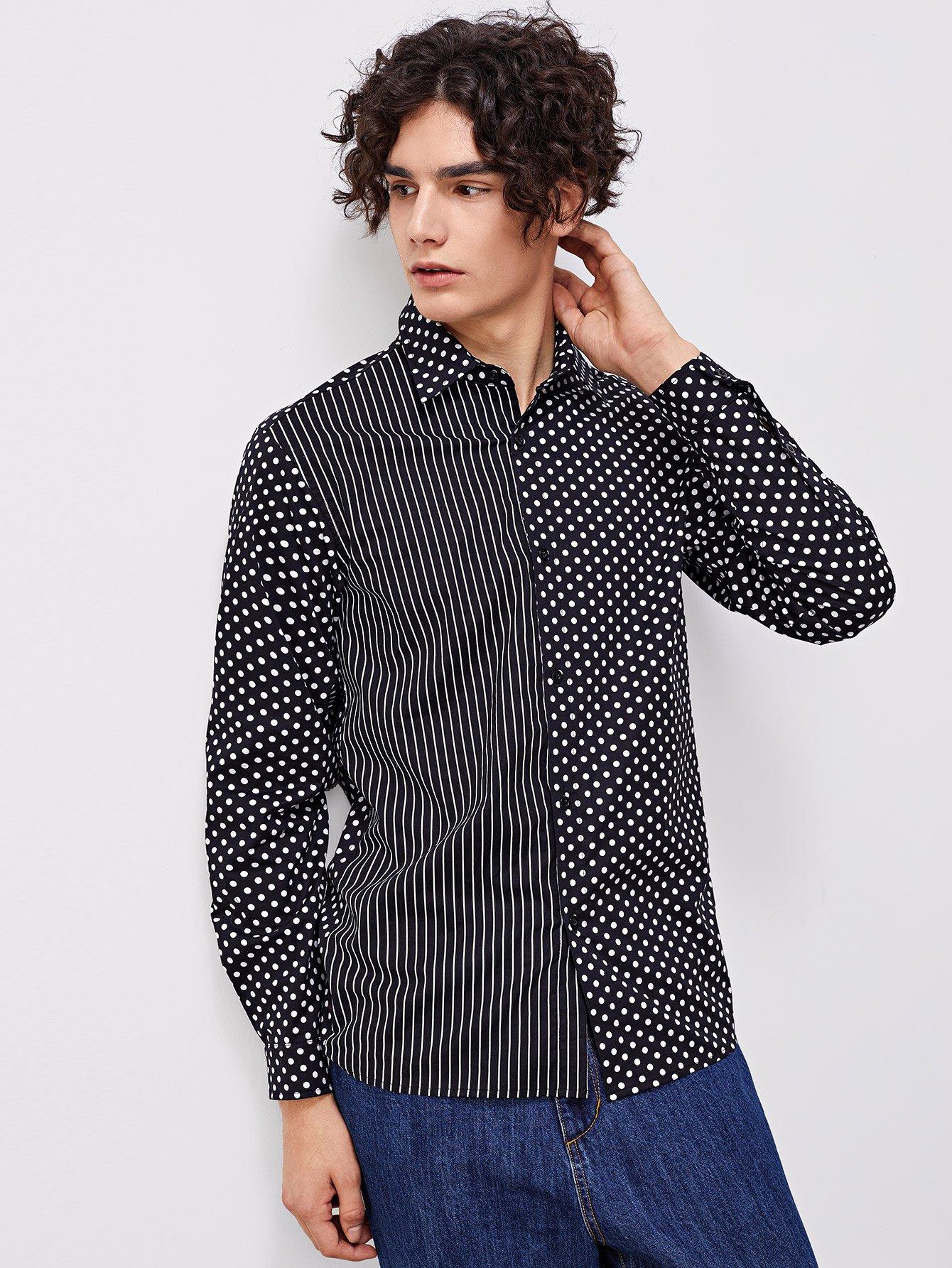 Купить Для мужчин полосатая рубашка в крапинку, Adam T, SheIn