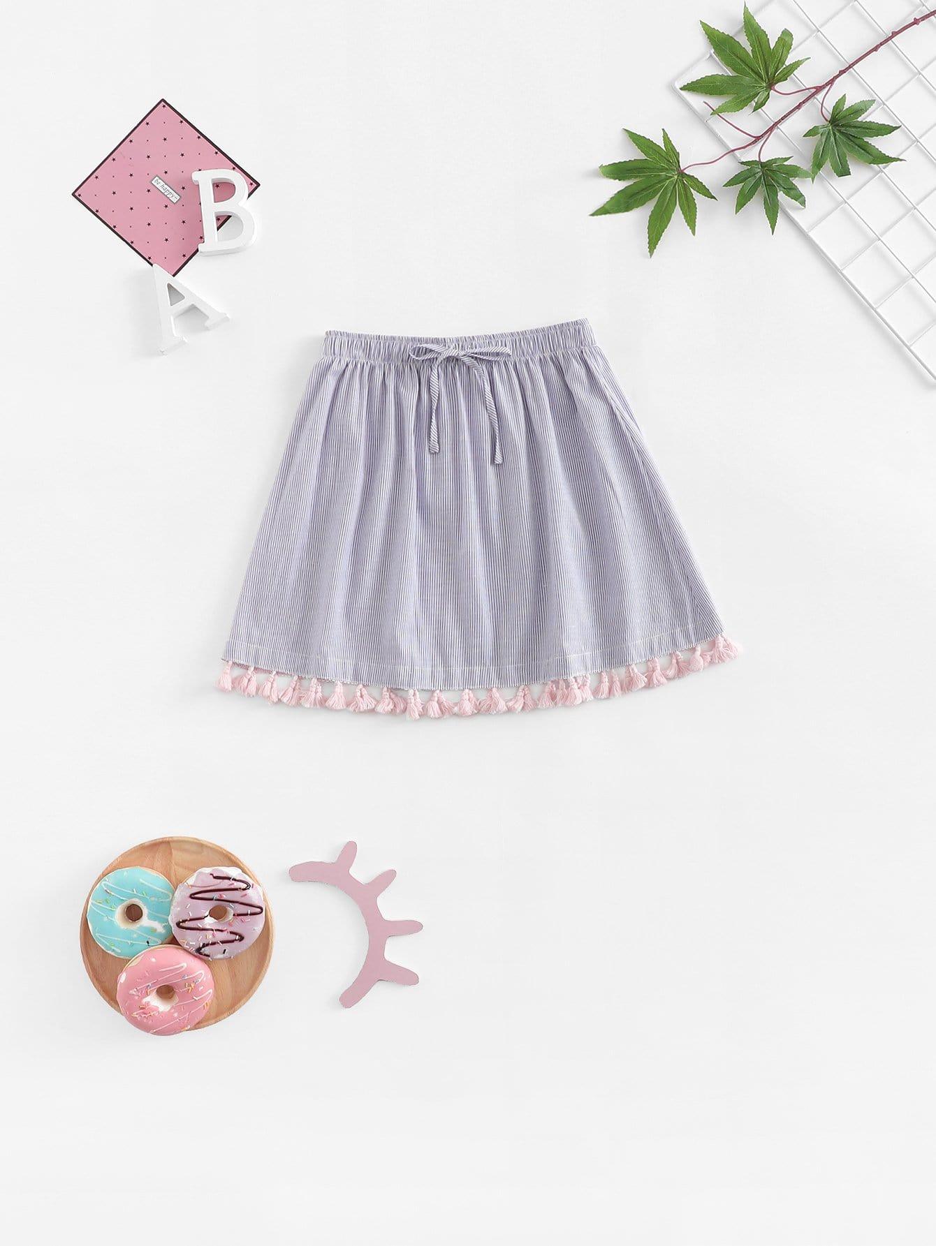 Купить Для девочек юбка в полоску с кисточками, null, SheIn