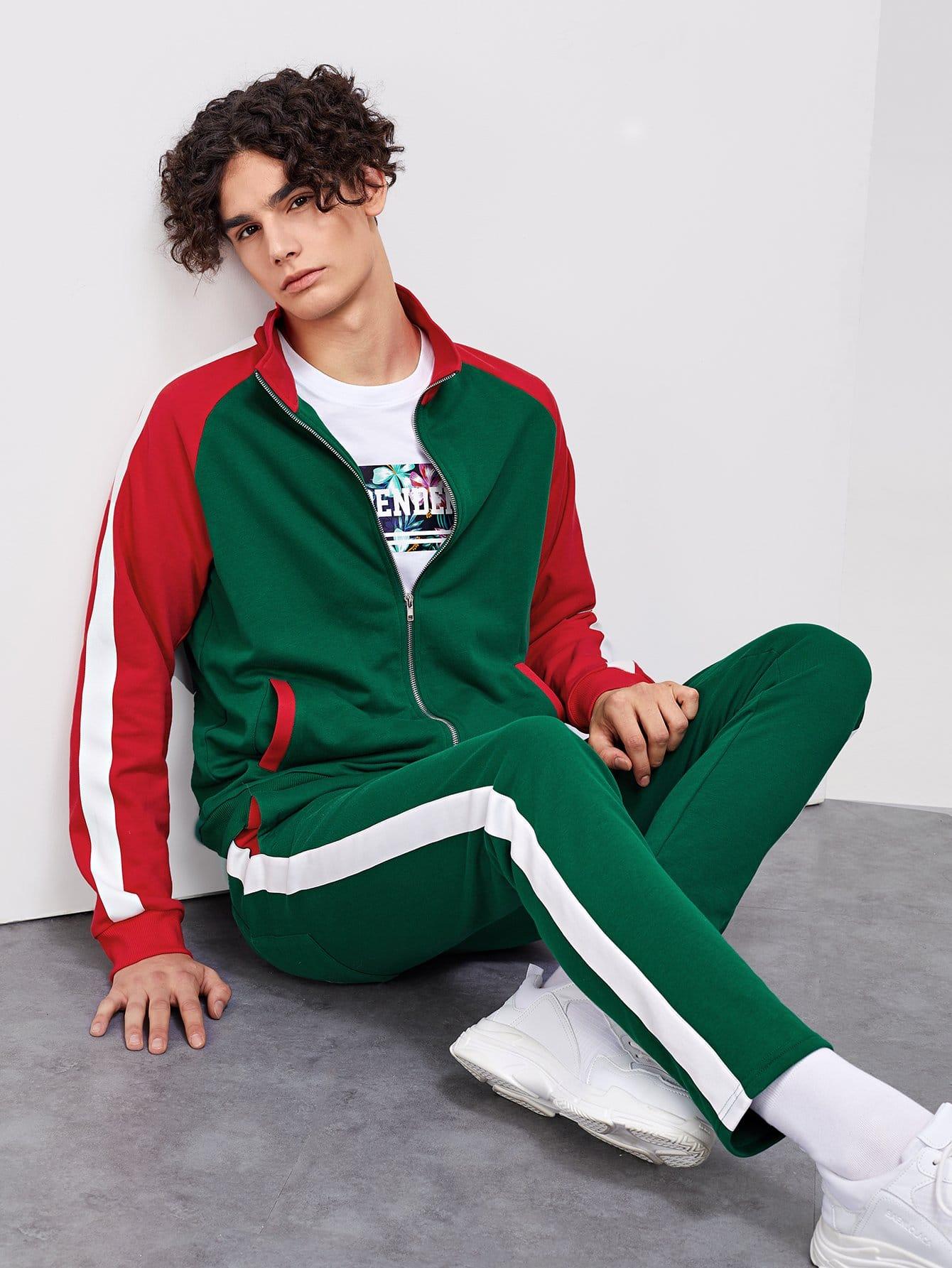 Для мужчин контрастная куртка и брюки комплект от SheIn